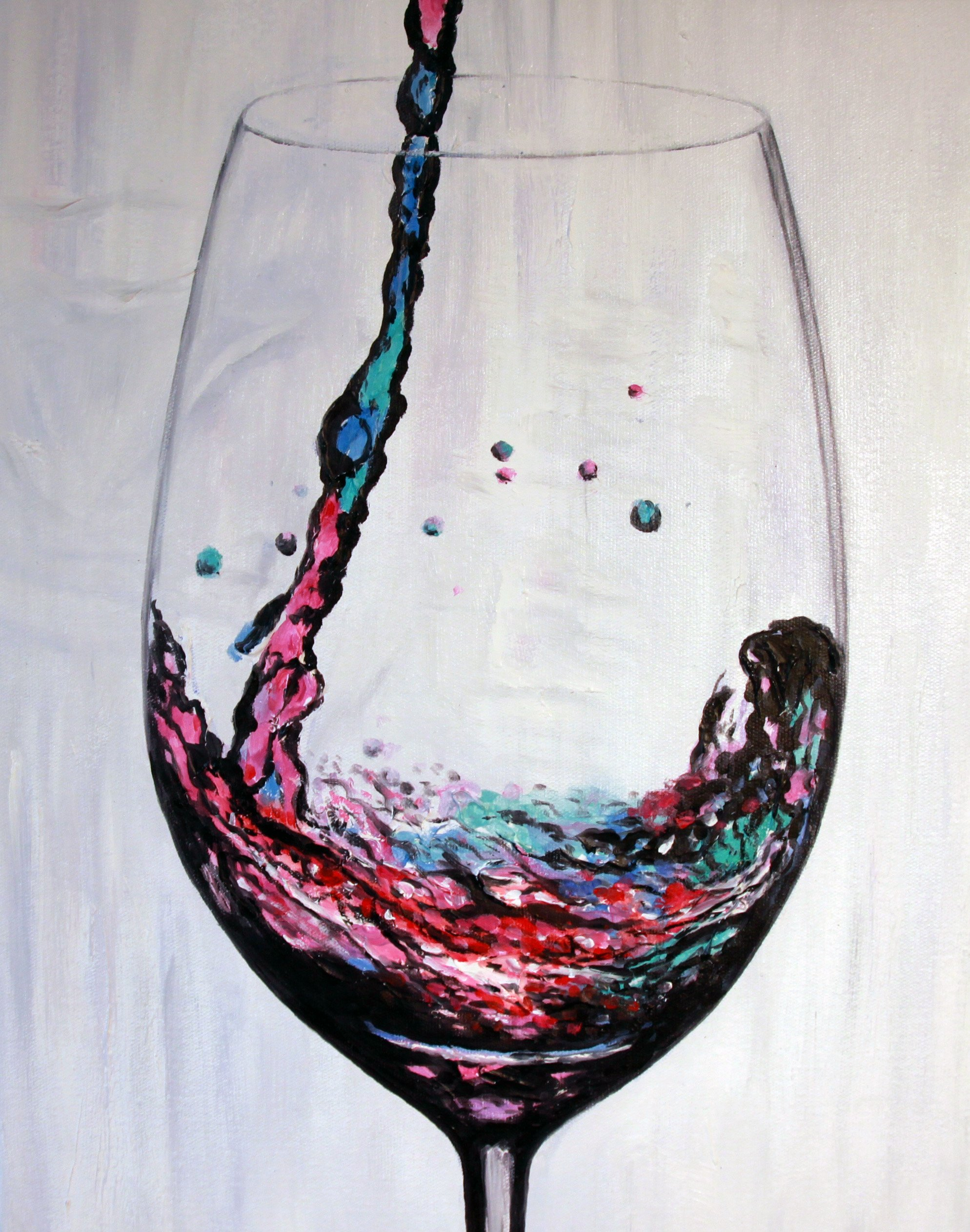 Premium ''Wine at the Delano'' Hand-Painted Canvas Art By Artocrat - Original 100% Hand-Painted Design, Exquisite Oil Painting Technique, Vibrant Colors, 16''x20'' Canvas, Modern Home & Office Decor Idea by artocrat