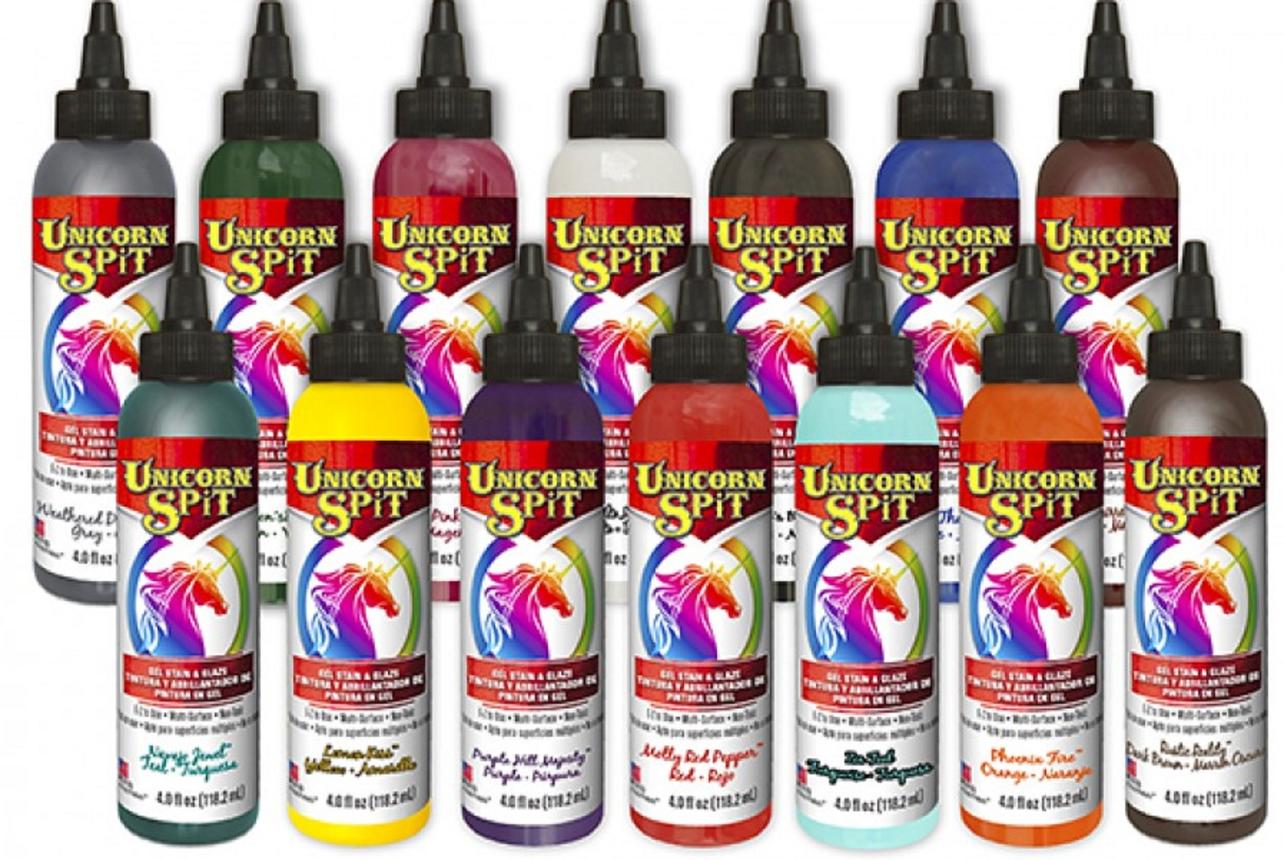 Unicorn SPiT Gel Stain & Glaze in One - 14 COMPLETE Paint Collection- 4oz - Includes New Colors by Unicorn SpiT