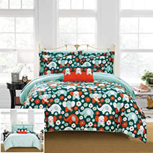 Chic Home Reprise 6 Piece Reversible Comforter Cute Elephant Friends Youth Design Bed in a Bag-Sheet Set Decorative Pillow Sham Included, Twin, Multi Color