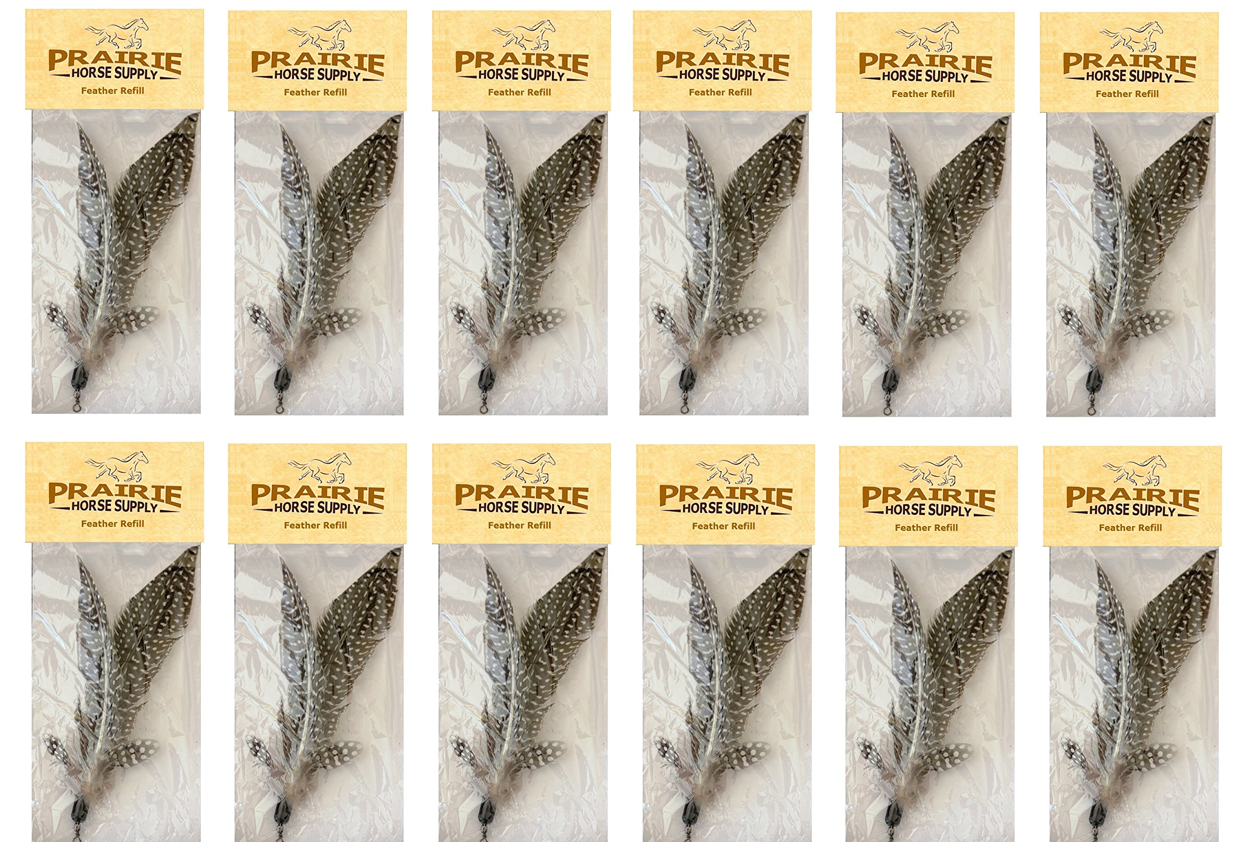 Replacement Refill Feathers for Da Bird GoCat Toy Feather Teaser Wand Pole Cat Toy (12 pack), by Prairie Horse Supply