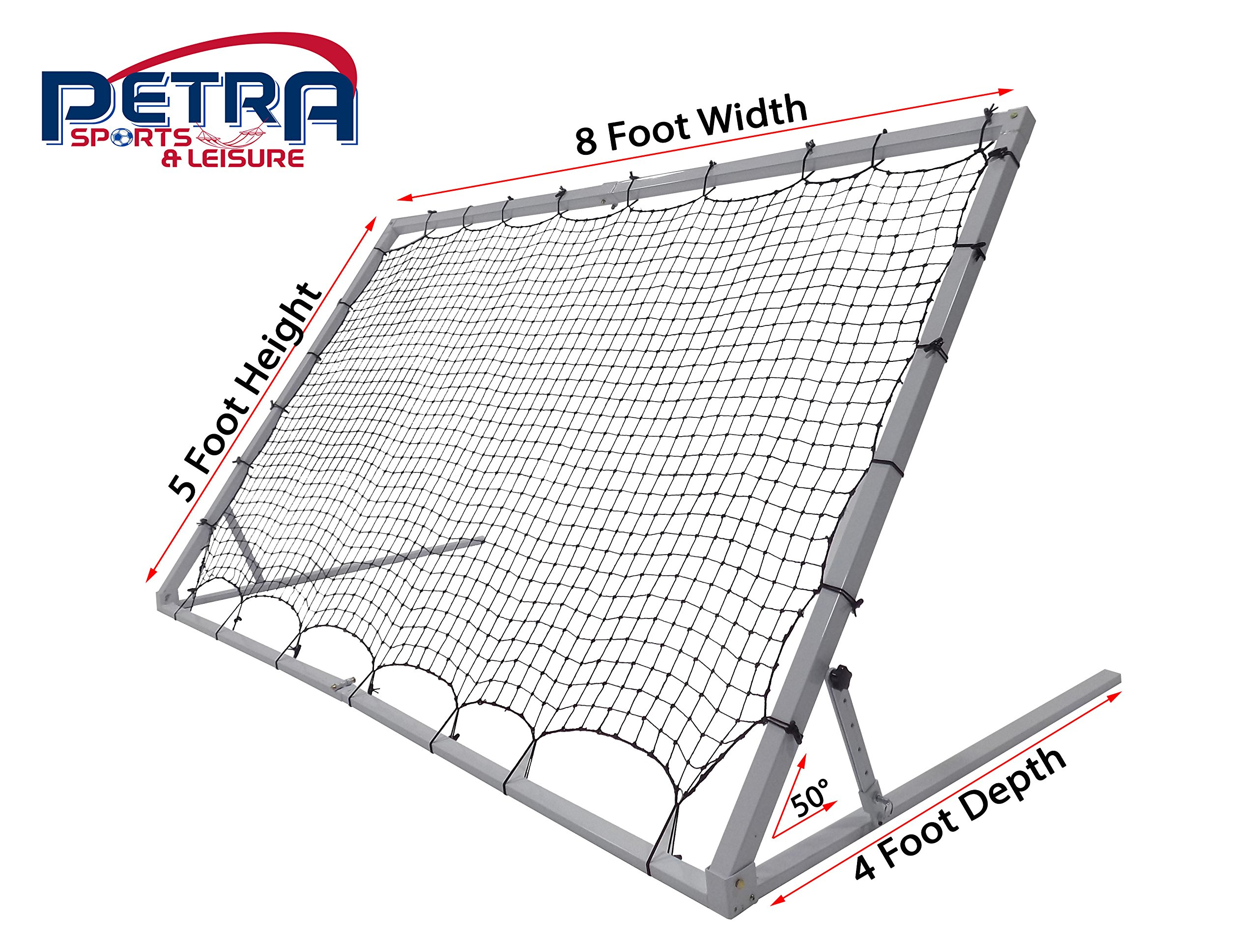 Pass 8 x 5 Ft. 3MM Industrial Steel Frame Training Rebounder w/5 Angle Positions. Portable Soccer, Baseball, Softball, Basketball, Lacrosse Practice Aid.