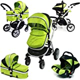 i-Safe System - Lime Trio Travel System Pram & Luxury Stroller 3 in 1 Complete With Car Seat