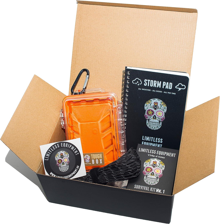 Equipamiento ilimitado | Caja de regalo ULTIMATE: Kit de supervivencia Mark 1, caja de agua, almohadilla impermeable y cuerda paracord: Amazon.es: Deportes y aire libre