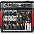 Professional DJ Audio Mixer Controller - 6-Channel DJ Controller Sound Mixer w/ DSP 380 Preset Effects, Recording, USB, 4 XLR