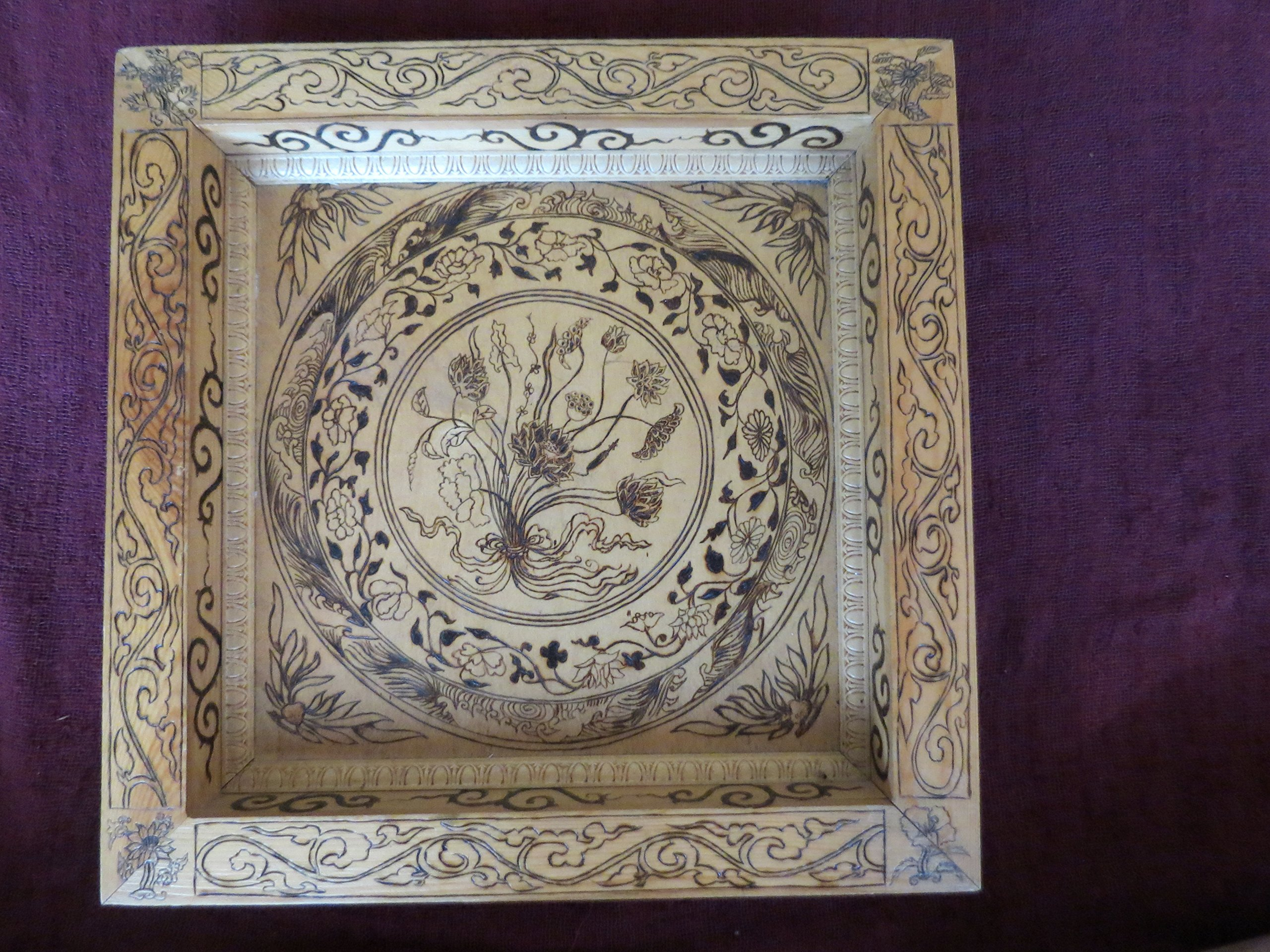 Ming Dynasty Inspired Floral Pyrography Wood Burn Art Panel by Shannon Ivins