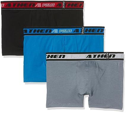Athena Herren Badehose Lot De 3 Boxers Pulse, Multicolore (Noir/Bleu/Gris