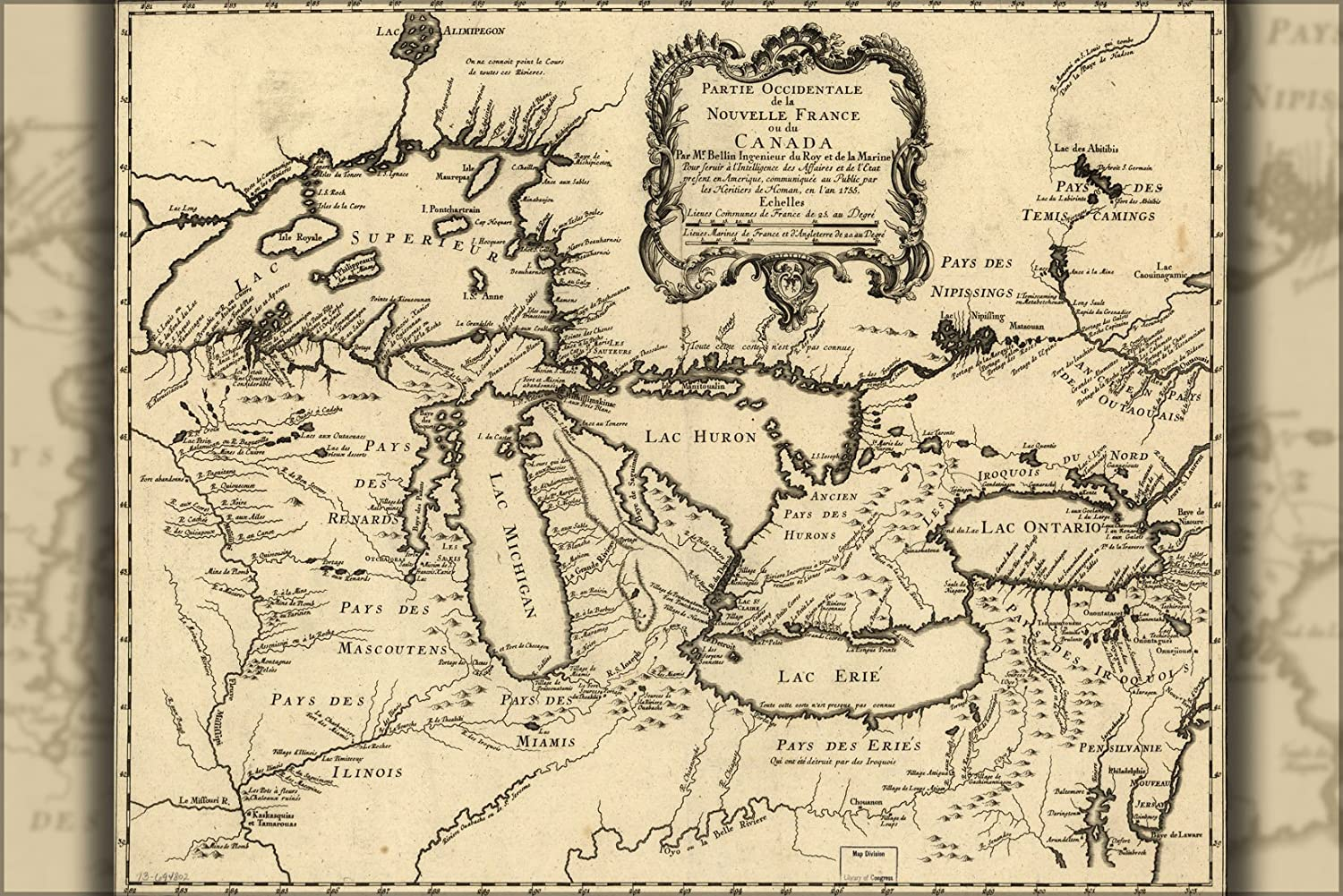 24x36 Poster; Map Of Michigan Great Lakes 1755 P2 In French; Antique Reprint