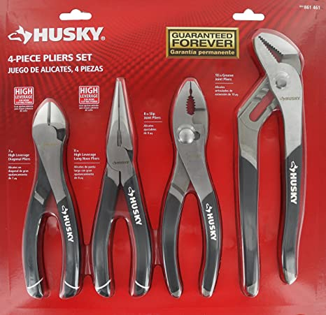 Husky 861461 4 Piece High Leverage Multi-Use Pliers Set with Diagonal, Long Nose, Slip Joint, and Groove Joint Pliers - - Amazon.com