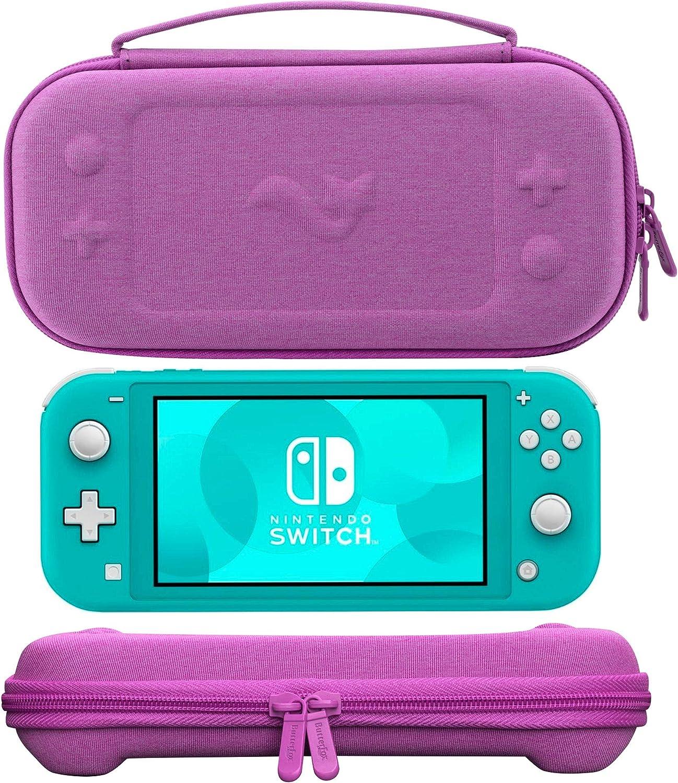ButterFox - Funda de transporte compacta para Nintendo Switch Lite con 19 juegos y 2 tarjeteros micro SD, color morado: Amazon.es: Electrónica