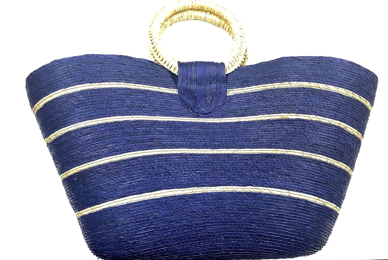 bluee Handmade Woven Natural Palm Handbag.