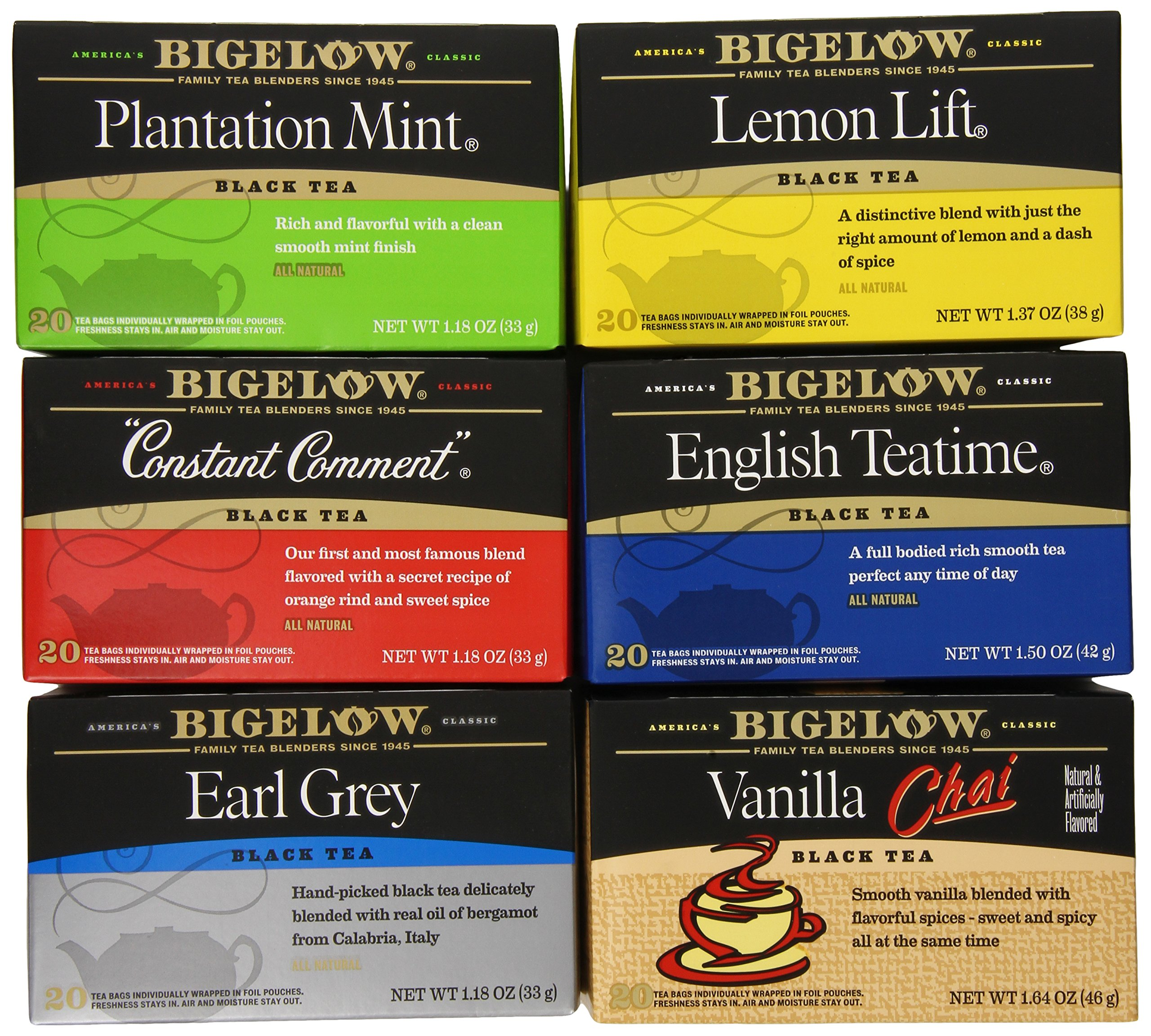 Bigelow Black Tea Variety Pack, 120 Bags, Plantation Mint, Lemon Lift, Constant Comment, English Teatime, Earl Grey and Vanilla Chai