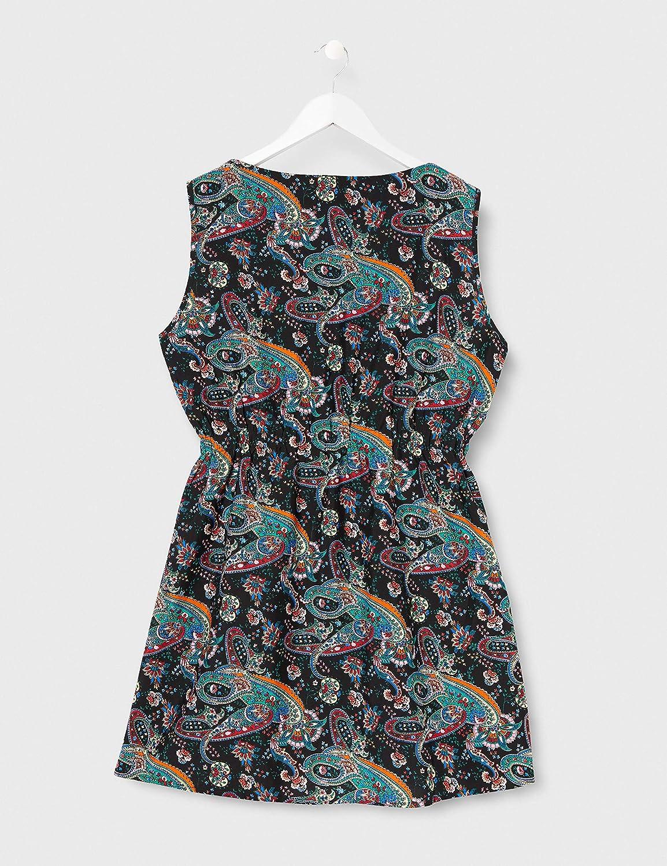 Mela Womens Paisley Printed Two Zip Dress Casual