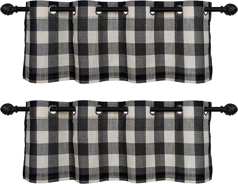 Creativesfun Farmhouse Faux Linen Look Light-Filtering Buffalo Check Grommet Window Valance Checks Line Up Set (Black & White, Valance 丨W53 X L12-INCH 2 PCS)