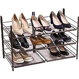 Shoe Storage Bronze Finish Foldable- Shoe Organizer Stackable Shelves - Shoe Holder for Closet - Shoe Shelf Made of Strong Metal Materiel