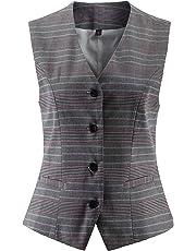 Vocni Women's Fully Lined 4 Button V-Neck Economy Dressy Suit Vest Waistcoat
