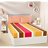 Amazon Brand - Solimo Mondrian Stripes 144 TC 100% Cotton Double Bedsheet with 2 Pillow Covers, Pink and Brown