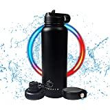 Hyydrate Sports Water Bottle - 40oz, 3 Lids, Vacuum Insulated Stainless Steel, Keeps Liquids Hot or Cold with Double…