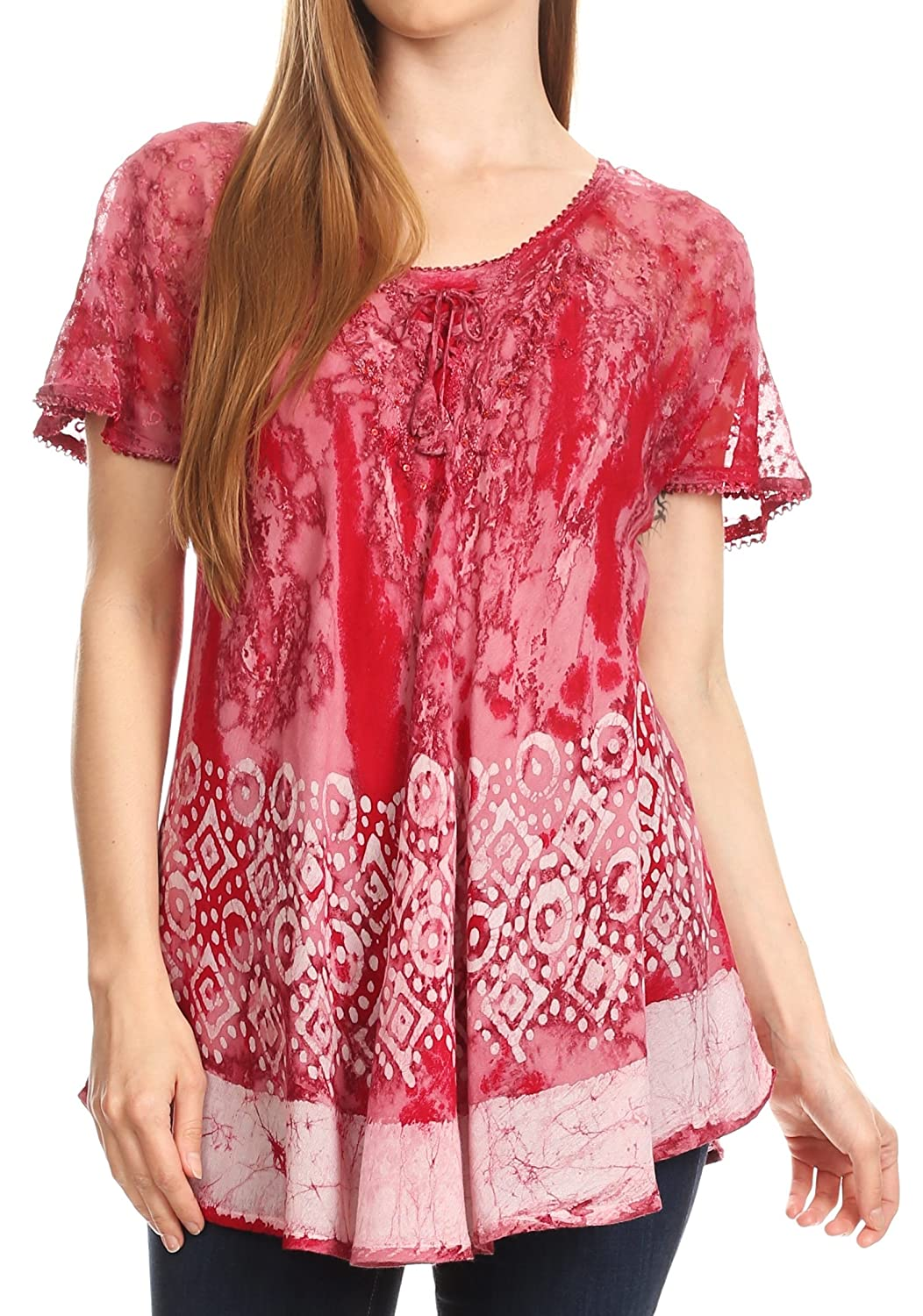 b1fd9becf917c Sakkas Sara Womens Flowy Peasant Short Sleeve Top Blouse Tie-dye Batik  Embroidery at Amazon Women s Clothing store