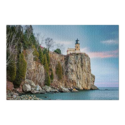 Minnesota - Split Rock Lighthouse on a Beautiful Day 9005511 (Premium 1000 Piece Jigsaw Puzzle for Adults, 20x30, Made in USA!): Toys & Games