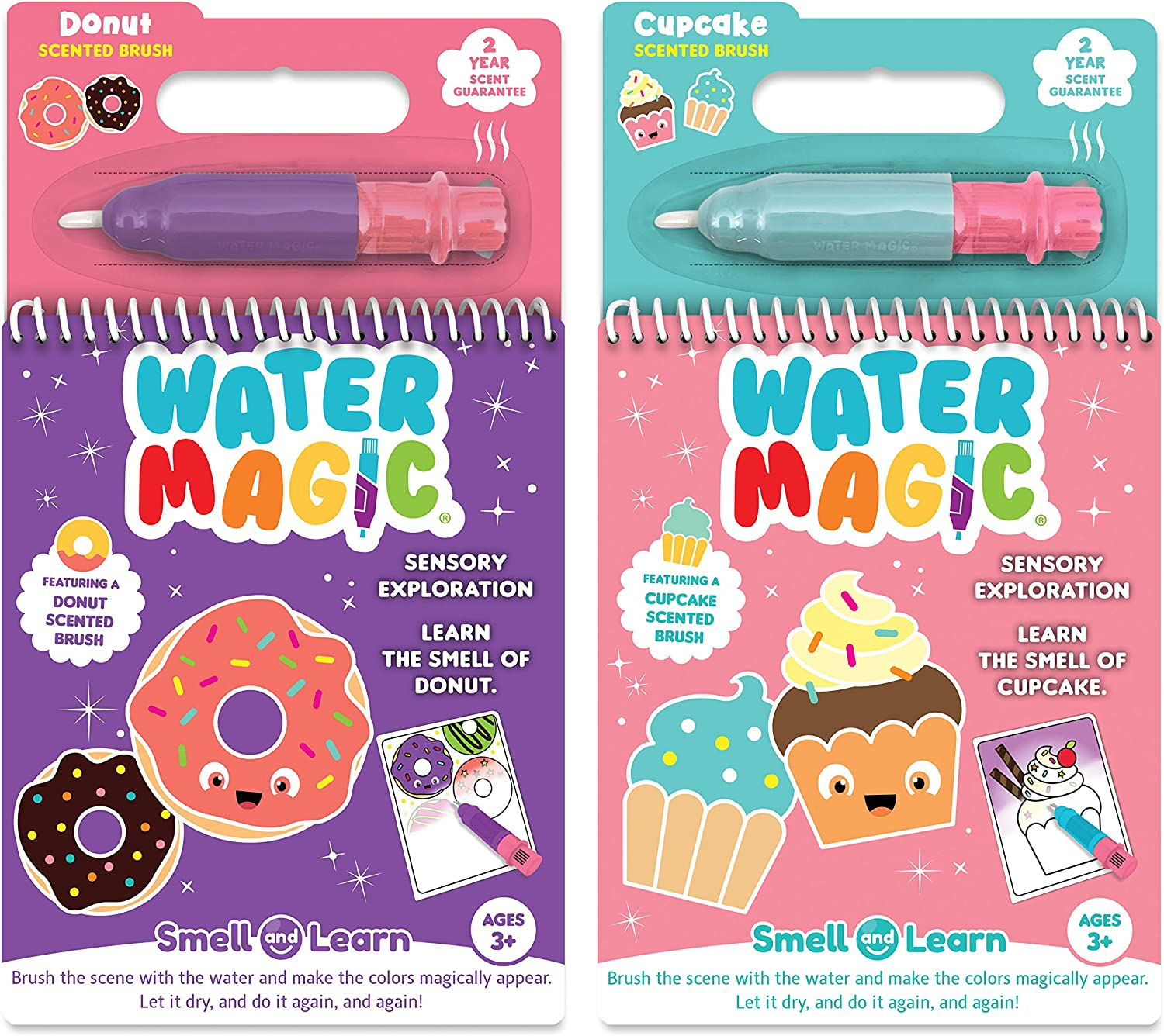 Scentco Water Magic - Scented Reusable Water Reveal Activity Pads - No Mess, All Fun (Cupcake and Donut)
