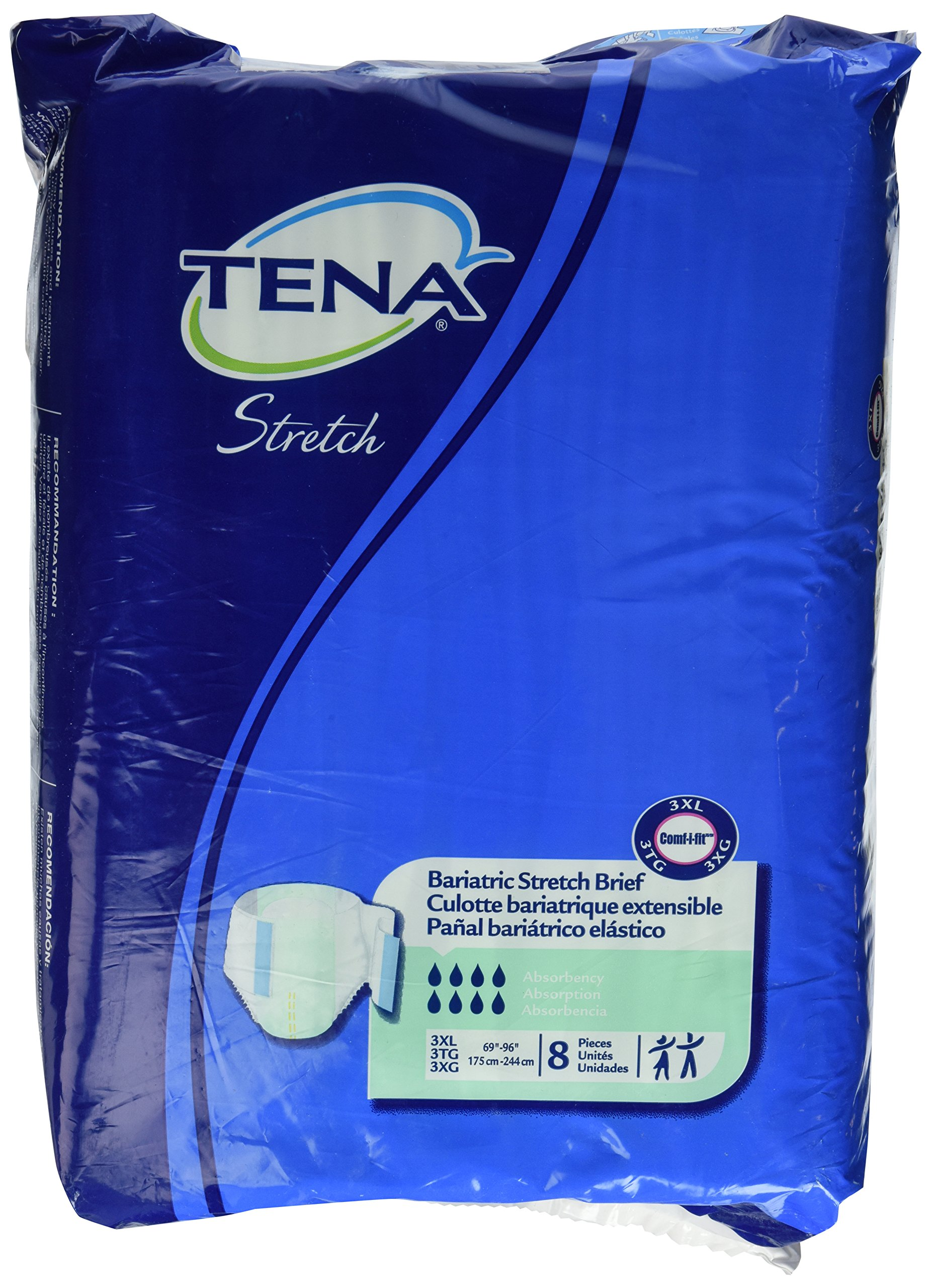 Tena Bariatric Briefs 3XL XXXL, Bag of 8, Waists 69 - 96 in.