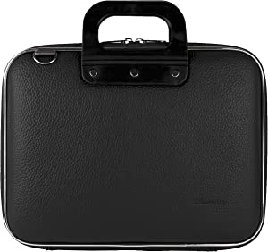 PU Leather Semi Hard Shell Briefcase Shoulder Bag College Satchel (Black) for Acer Iconia One 10, Tab 10, Switch One 10, Aspire Switch Series 10.1 Tablet Laptop