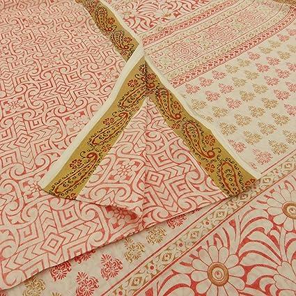 Vintage Floral Impreso Algodón Pur seda saree vestido blanca Faire sari tela 5yd