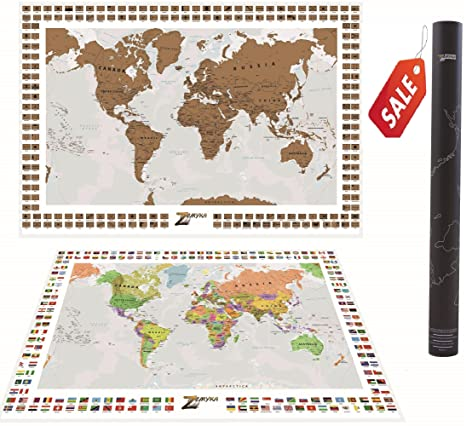 Amazon scratch off world map personalized with country flags scratch off world map personalized with country flags and states us ca br and gumiabroncs Images