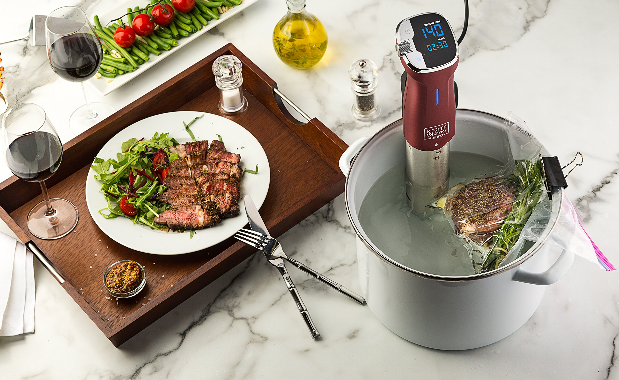 Kitchen Gizmo Sous Vide Immersion Circulator - Cook with Precision, 800 Watt Grey Circulator Stick with Touchscreen Control Panel and Safety Feature - Bonus Recipe Book Included by Kitchen Gizmo (Image #5)