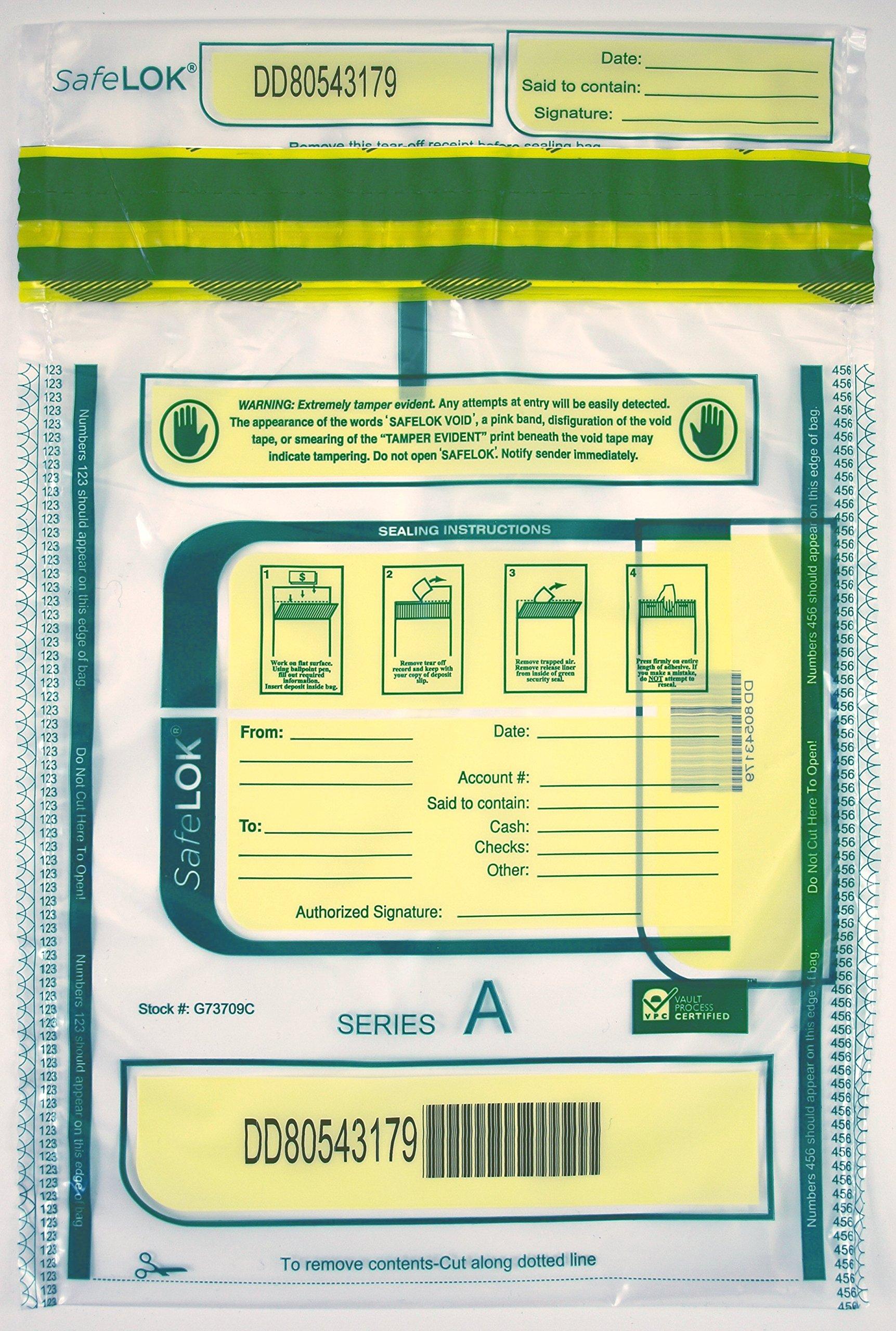 9 x 12 SafeLok, clear, 100 Deposit Bags