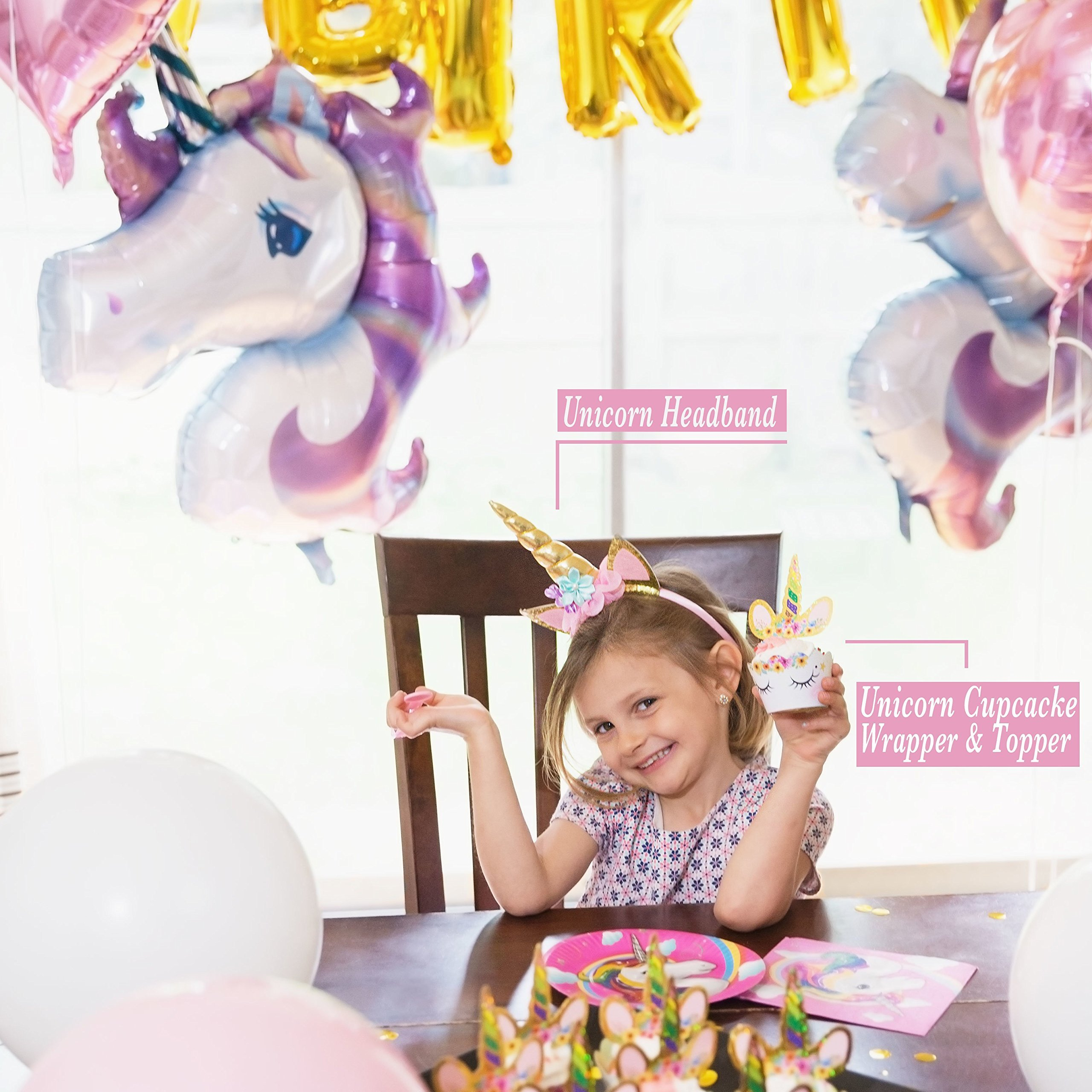 180+ PCS Complete Unicorn Party Supplies & Decorations - Glittery Unicorn Headband | Disposable Tableware Set | 30 Magical Balloons | 24 Pc Unicorn Cupcake Wrappers & Toppers | Party Favors by FETTI FETTI (Image #2)