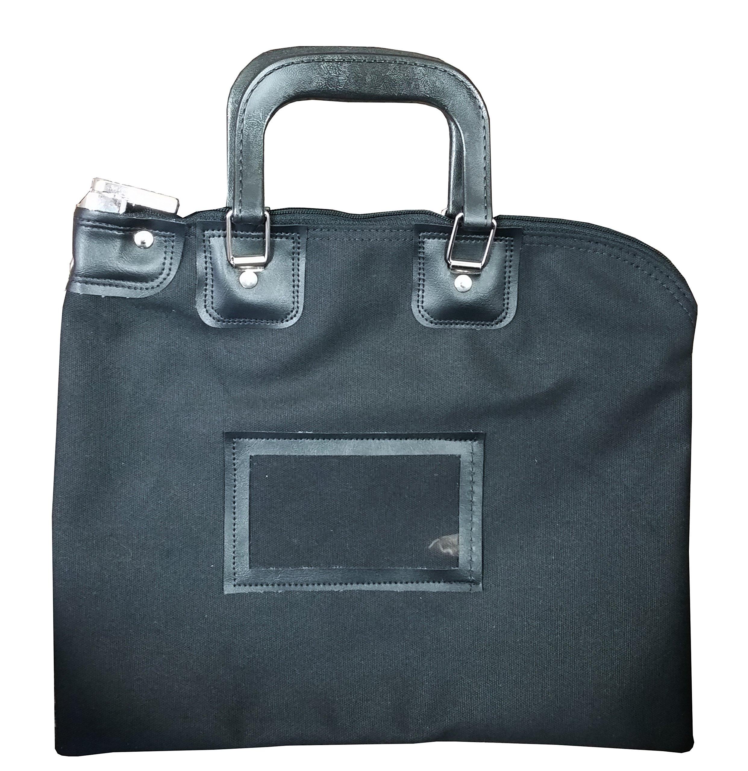 Locking Bank Bag Canvas with Hard Handles Black by Cardinal bag supplies
