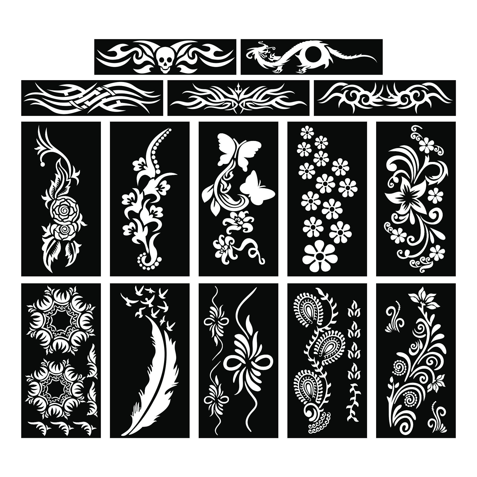 PARTH IMPEX Henna Tattoo Stencils (Pack of 15) Self Adhesive Body Paint Designs Temporary Mehndi Drawing Hand Arms Shoulders Chest Lower Back Legs Tribal Template by PARTH IMPEX