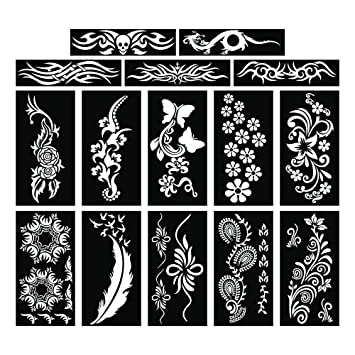 0b31cc787 Amazon.com : PARTH IMPEX Henna Tattoo Stencils (Pack of 15) Self Adhesive  Body Paint Designs Temporary Mehndi Drawing Hand Arms Shoulders Chest Lower  Back ...