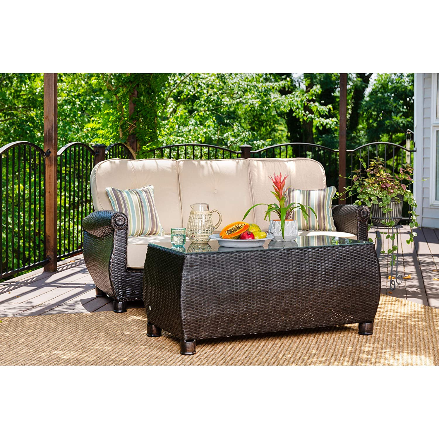Amazon com la z boy outdoor breckenridge resin wicker patio furniture sofa with pillows and coffee table set natural tan with all weather sunbrella