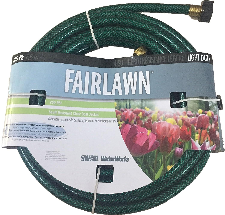 "Swan Products SNCFA12025 FAIRLAWN WaterSAVER Light Duty Chore Garden Hose 25' x 1/2"", Green"