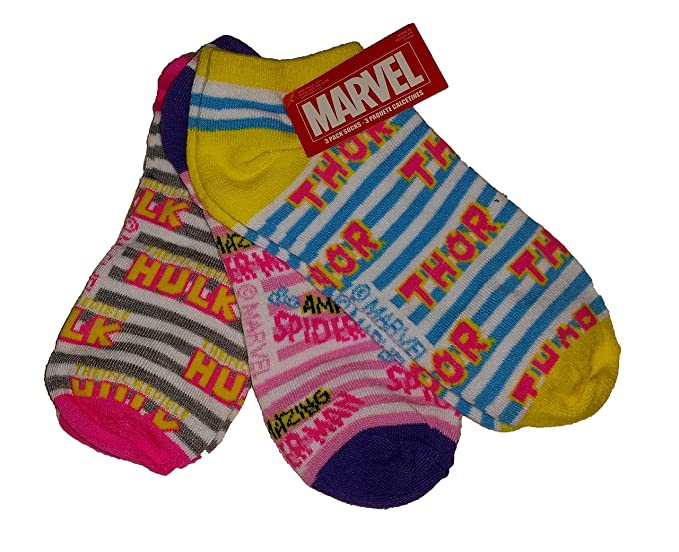 Marvel Womens Super Hero Socks - Thor / Spider-Man / The Hulk (Size