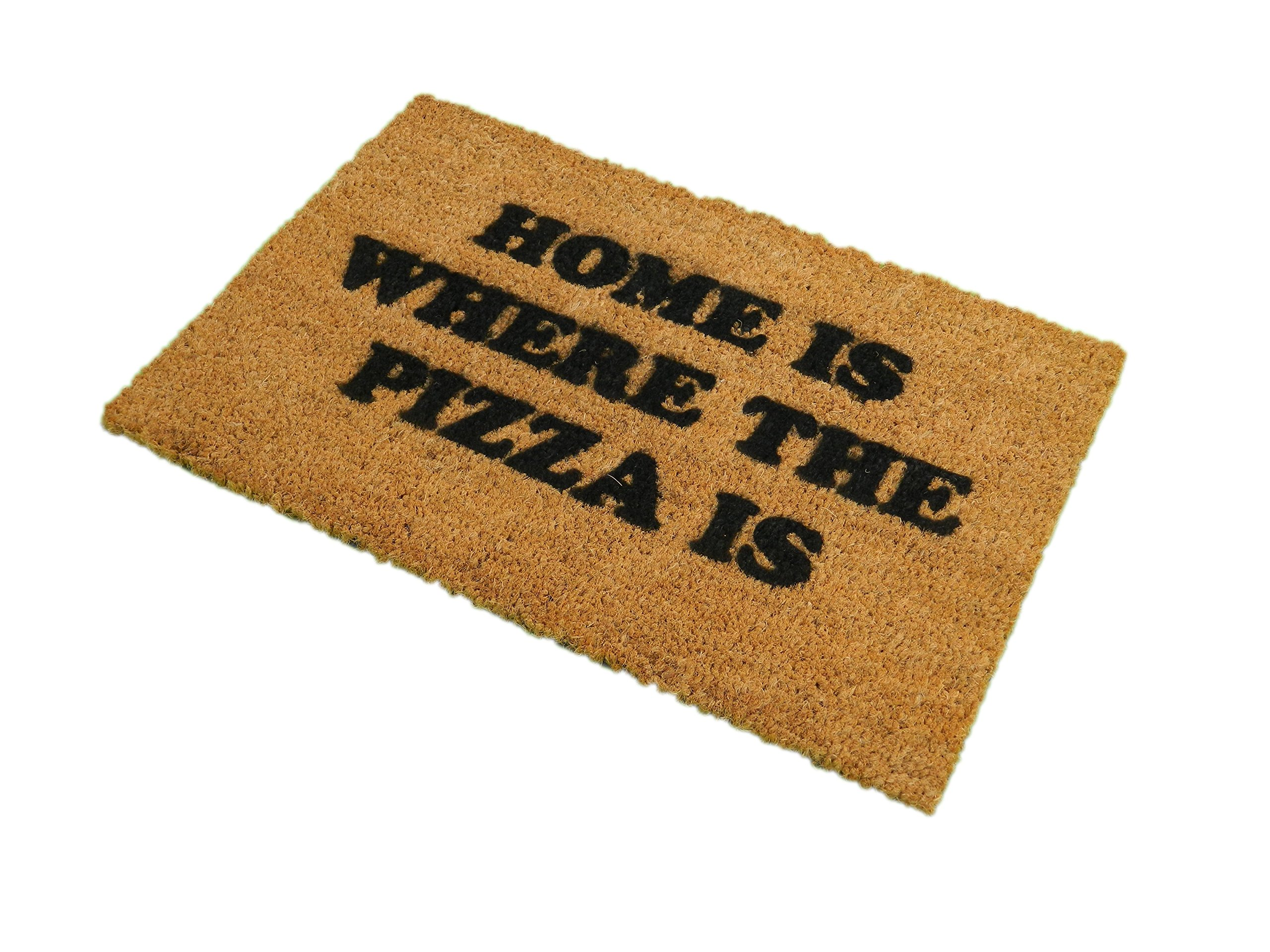 CKB Ltd Home Is Where The Pizza Novelty Doormat Unique Doormats Front/Back Door Mats Made With A Non-Slip Pvc Backing - Natural Coir - Indoor & Outdoor by CKB Ltd