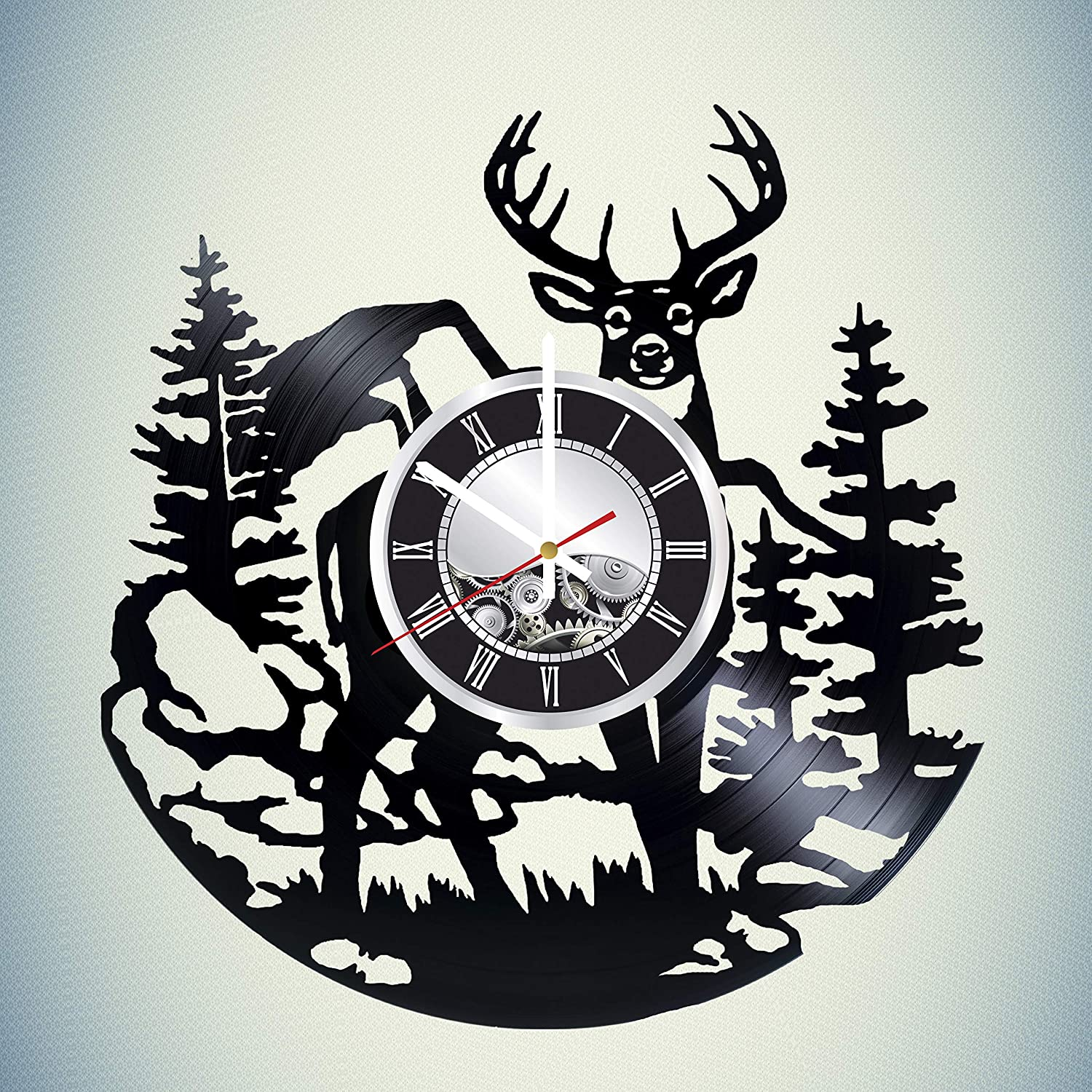 Deer Vinyl Wall Clock - Vintage Record - Original Gift for Any Occasion - Unique Home Decor - Quartz Non Ticking Mechanism - Great Wall Decor for Living Room Kitchen Bedroom - Wall Art Design
