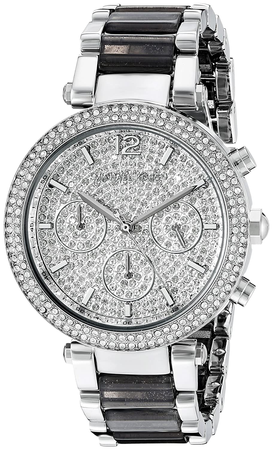Michael Kors Women s Silvertone Parker Watch with Grey Glitter Acetate Links and Pave Dial