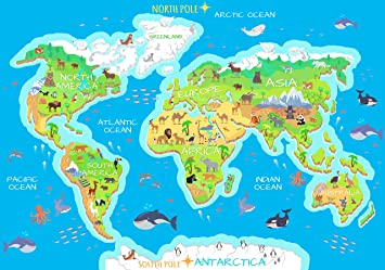Karte Kontinente Welt.Wandmotiv24 Fototapete Weltkarte Tiere Ozeane Kontinente Flora Fauna Kind Karte Welt M1472 L 300 X 210 Cm 6 Teile Wandbild Motivtapete