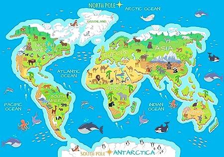 Fototapete Weltkarte Tiere Ozeane Kontinente Flora Fauna Kind Karte Welt M 250 x 175 cm - 5 Teile Vlies Tapete Wandtapete - M