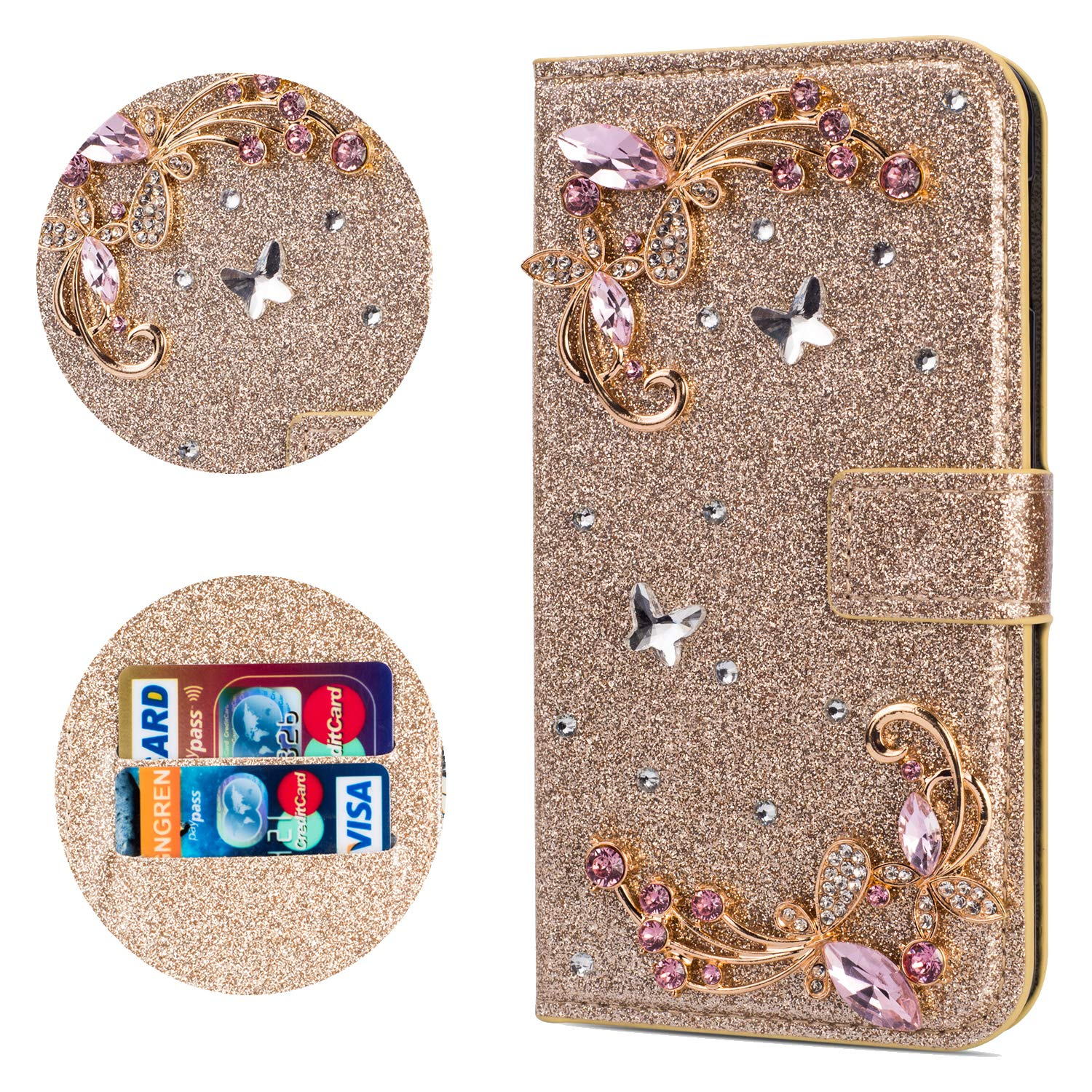 Stysen Flip Case for Galaxy J4 2018,Leather Cover with 3D Handmade Crystal Diamonds Butterfly Glitter Floral Wallet Magnetic Clasp for Samsung Galaxy J4 2018 by Stysen