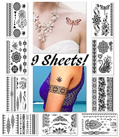 ae4eb73d1 Black Henna Temporary Tattoos for Women Teens Girls - 9 Sheets Black Lace  Fake Stickers -