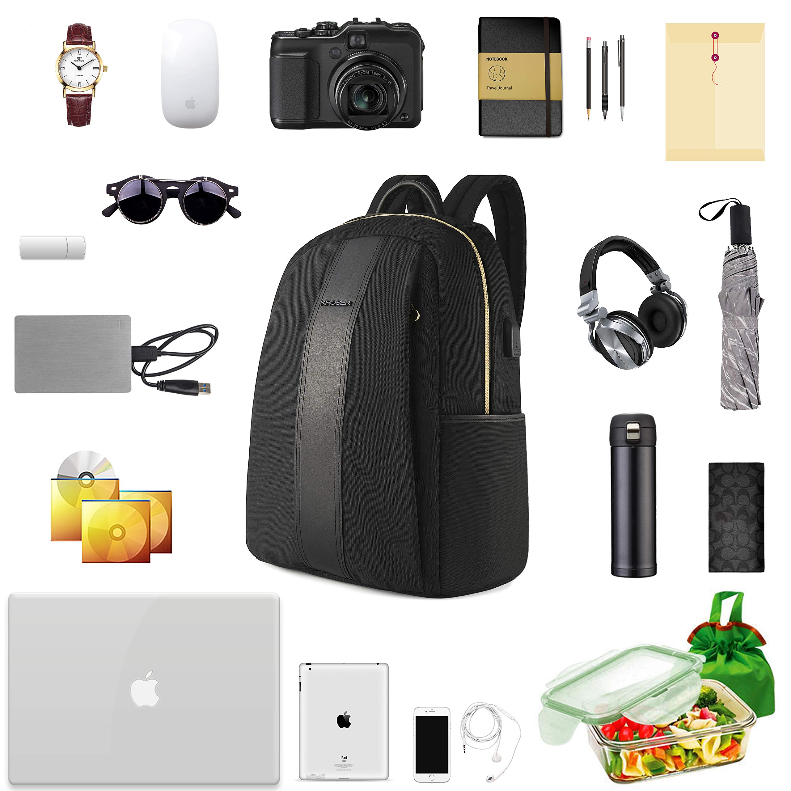 KROSER Laptop Backpack 15.6 Inch Fashion School Computer Backpack Water-Repellent Nylon Casual Daypack with USB Charging Port for Travel/Business/College/Women/Men-Black by KROSER (Image #7)