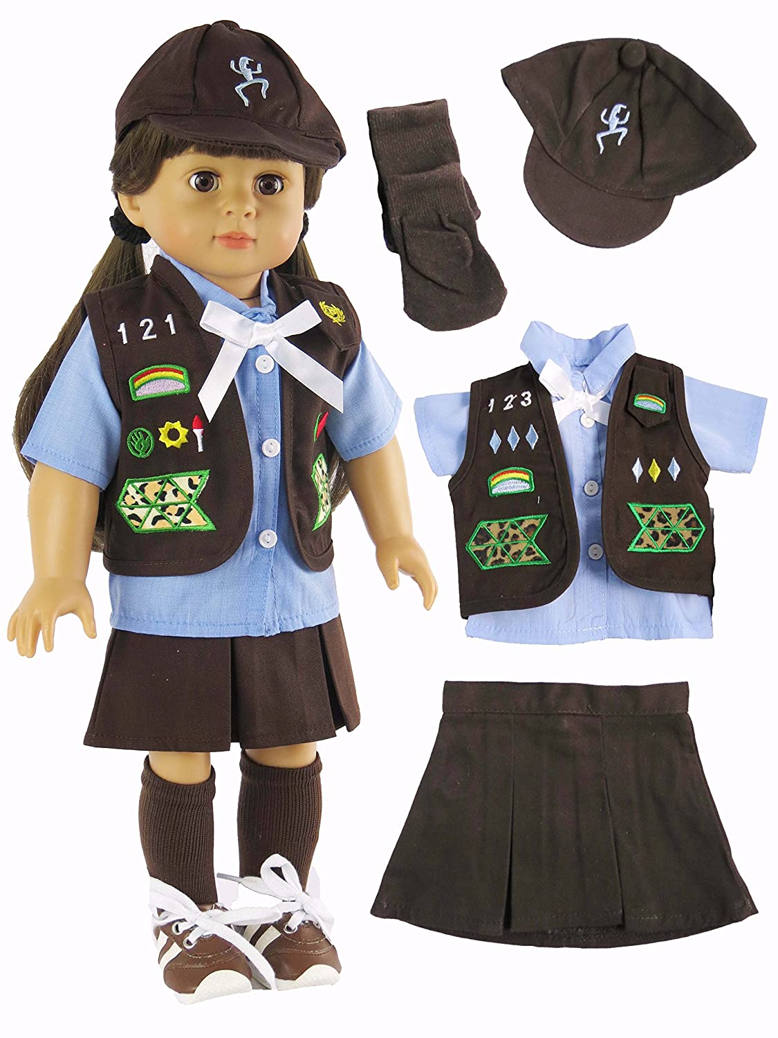 18 Inch Doll Clothes Fits 18 American Girl Dolls Made such as American Girl Madame Alexander Our Generation American Fashion World Girl Scout Brownie Outfit etc