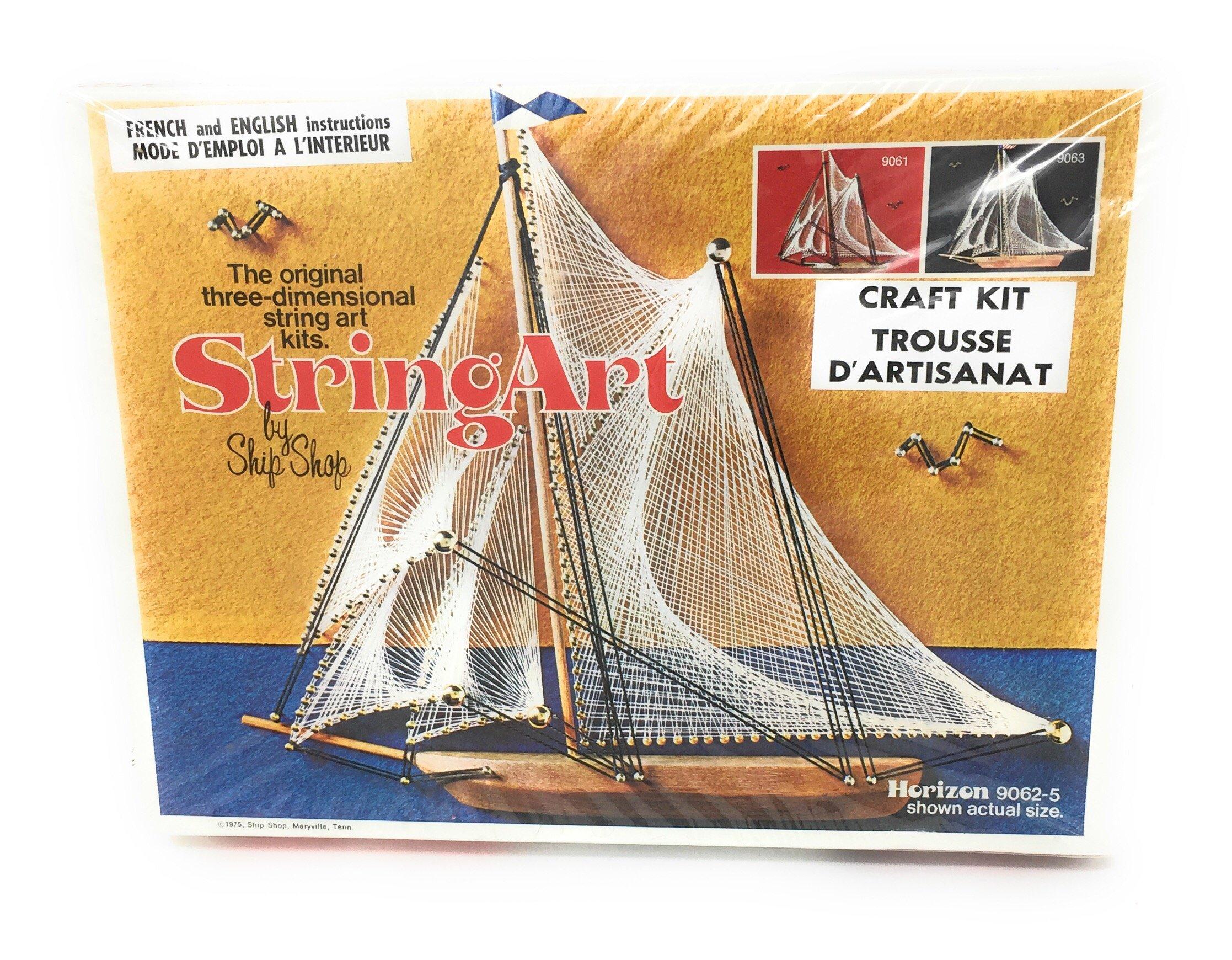 Vintage 1975 Original Three-Dimensional String Art Kit Ship Shop Model Horizon 9062-5 Complete Original