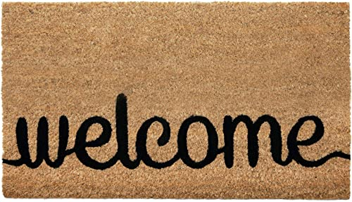 NIKKY HOME 16 x 28 Inches Welcome Decorative Coir Door Mat Non Slip Front Doormat