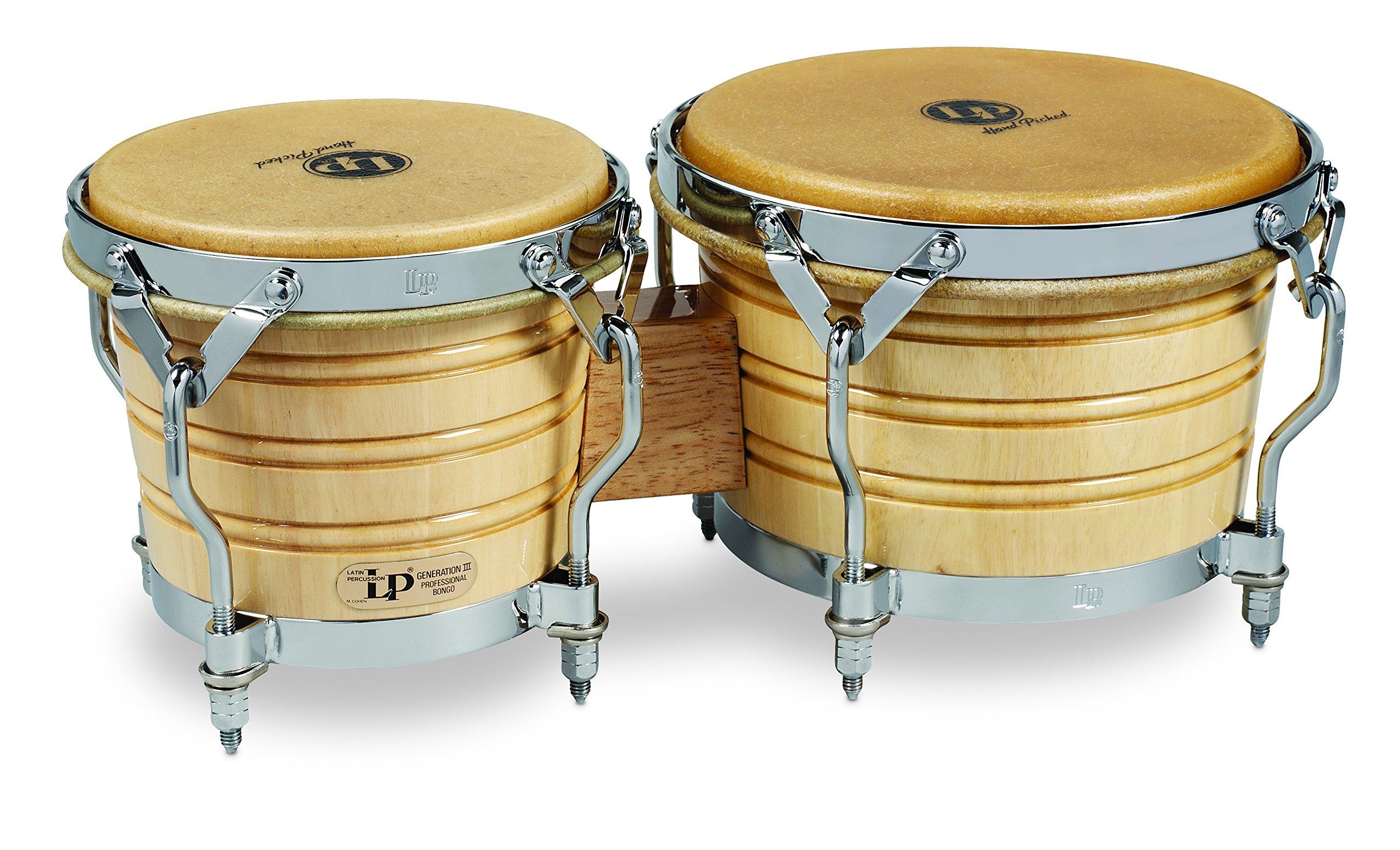 Latin Percussion LP201A-3 Bongo Drum, Natural/Chrome