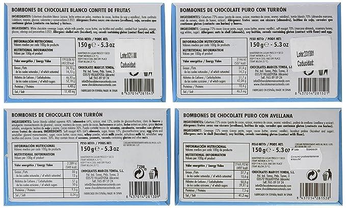 Chocolates Marcos Tonda Estuche Regalo Selección Bombones Premium - 600 gr: Amazon.es: Alimentación y bebidas